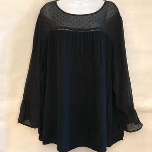 OLD NAVY Plus Size Black sheer sleeves top Sz XXL
